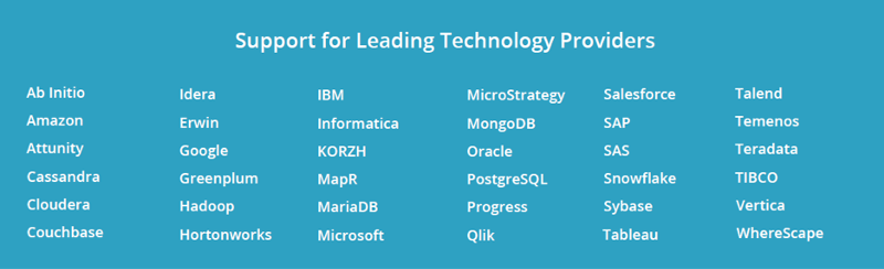 Automate Data Lineage from Leading Technology Providers - Over 60 Tools and Technologies Supported